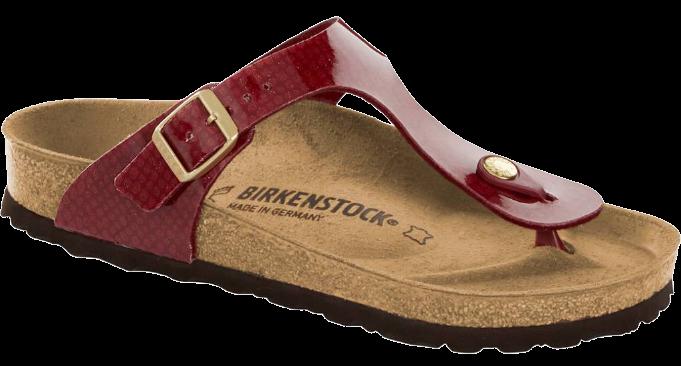 Blizgančios raudonos spalvos moteriškos šlepetės Birkenstock 1013629